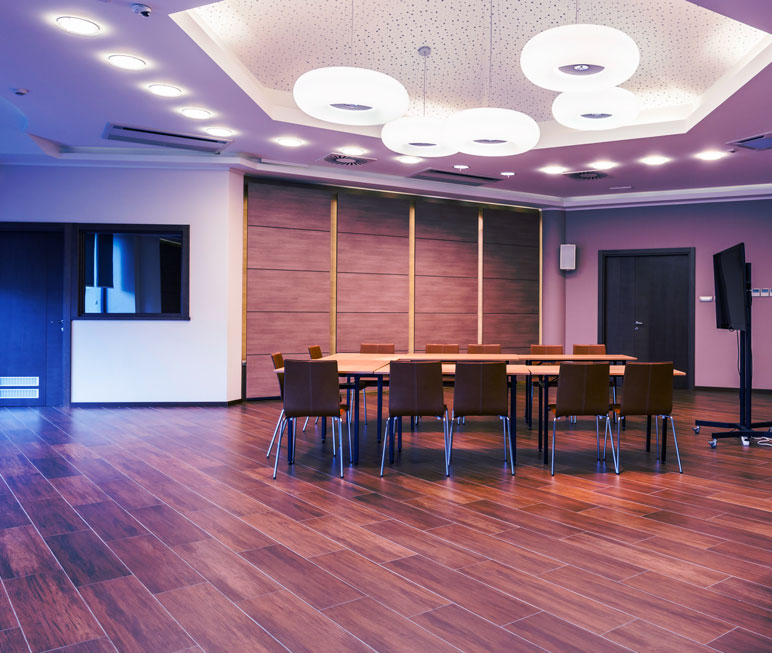 Conference Room With Custom Lighting Installation